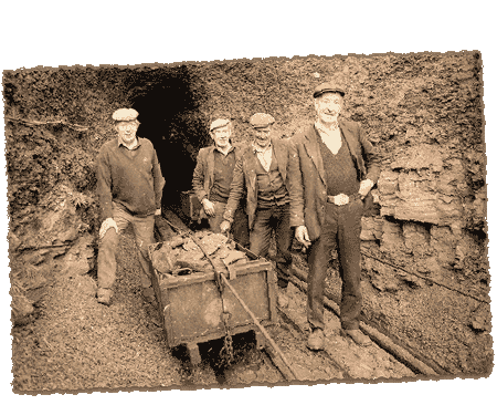 Archive Photograph of Miners Outside Mine