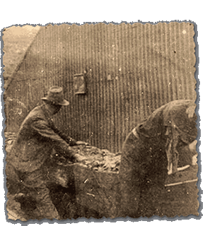 Miners outside building