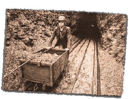 Miner pushing cart out of tunnel